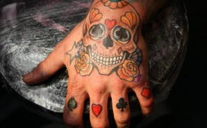 Hand Skull With Card Symbols