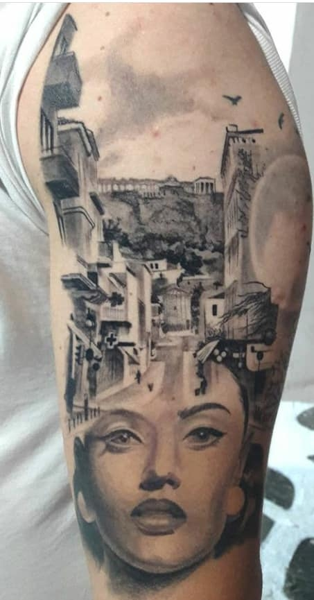 black & grey half sleeve by Paul